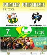 El próximo 7 de abril el Membrilla C.F. recibe al Manzanares C.F
